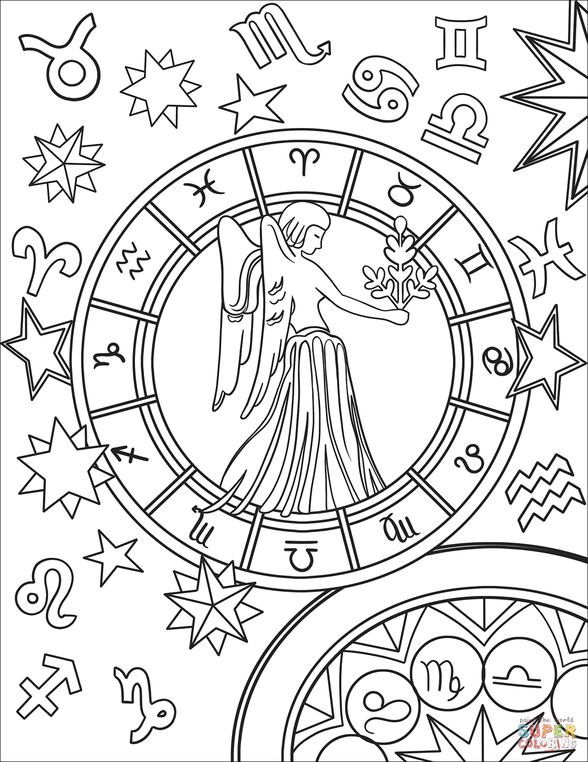 Virgo Zodiac Sign Coloring Page Free Printable Coloring Pages Star Coloring Pages Zodiac Signs Colors Coloring Pages