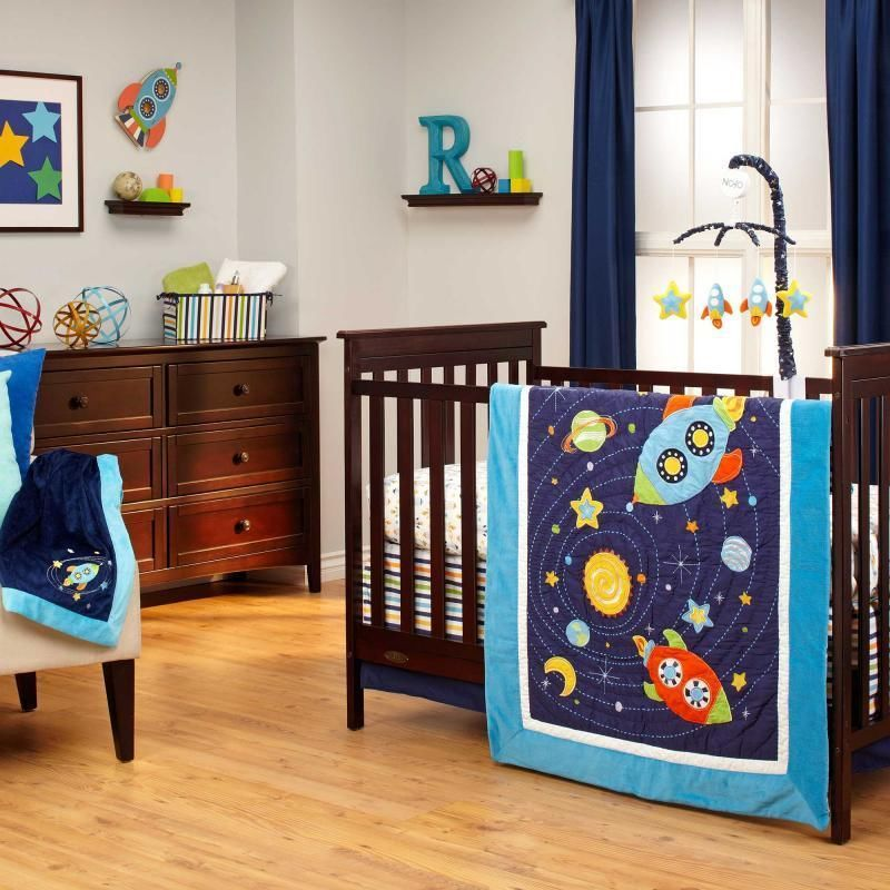 Colorful Space Ship And Stars Baby Boys Nursery 4 Piece