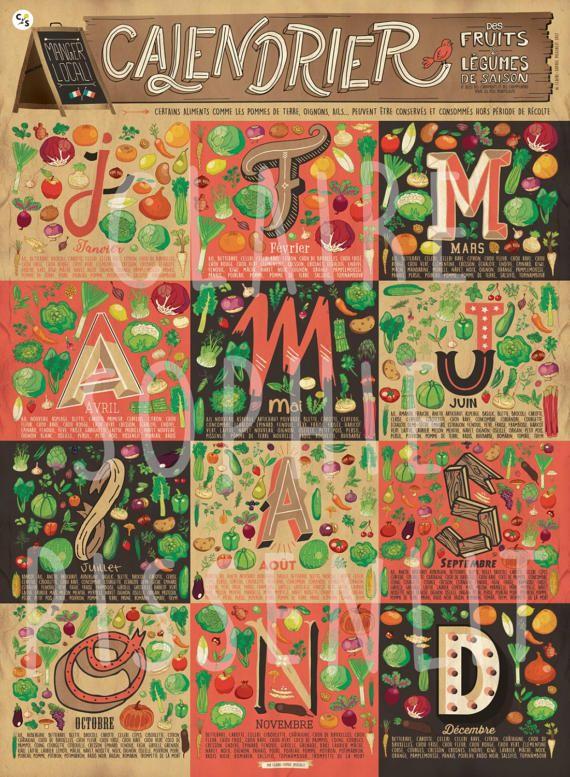 a3f5478a1f8 Affiche A2 - Calendrier des fruits et légumes de saison (Illustrated ...