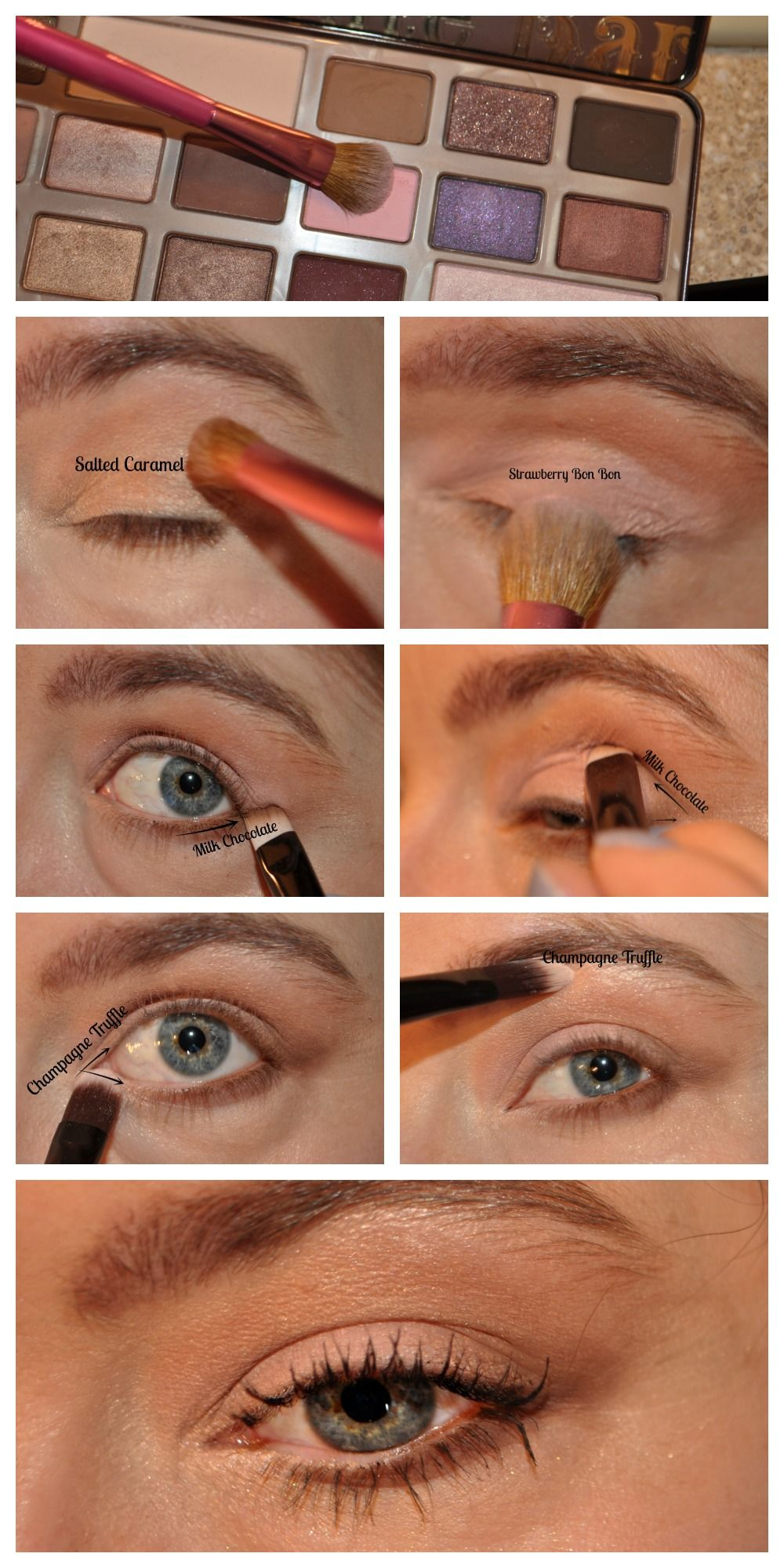 Tutorial for a simple, natural eye-look with the Too Faced ...