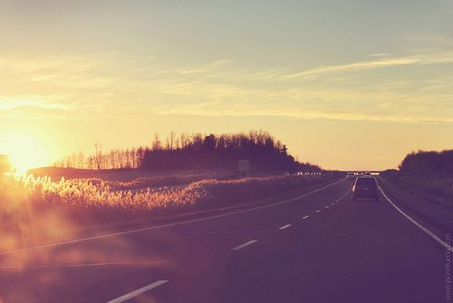 glaring sun on road trip
