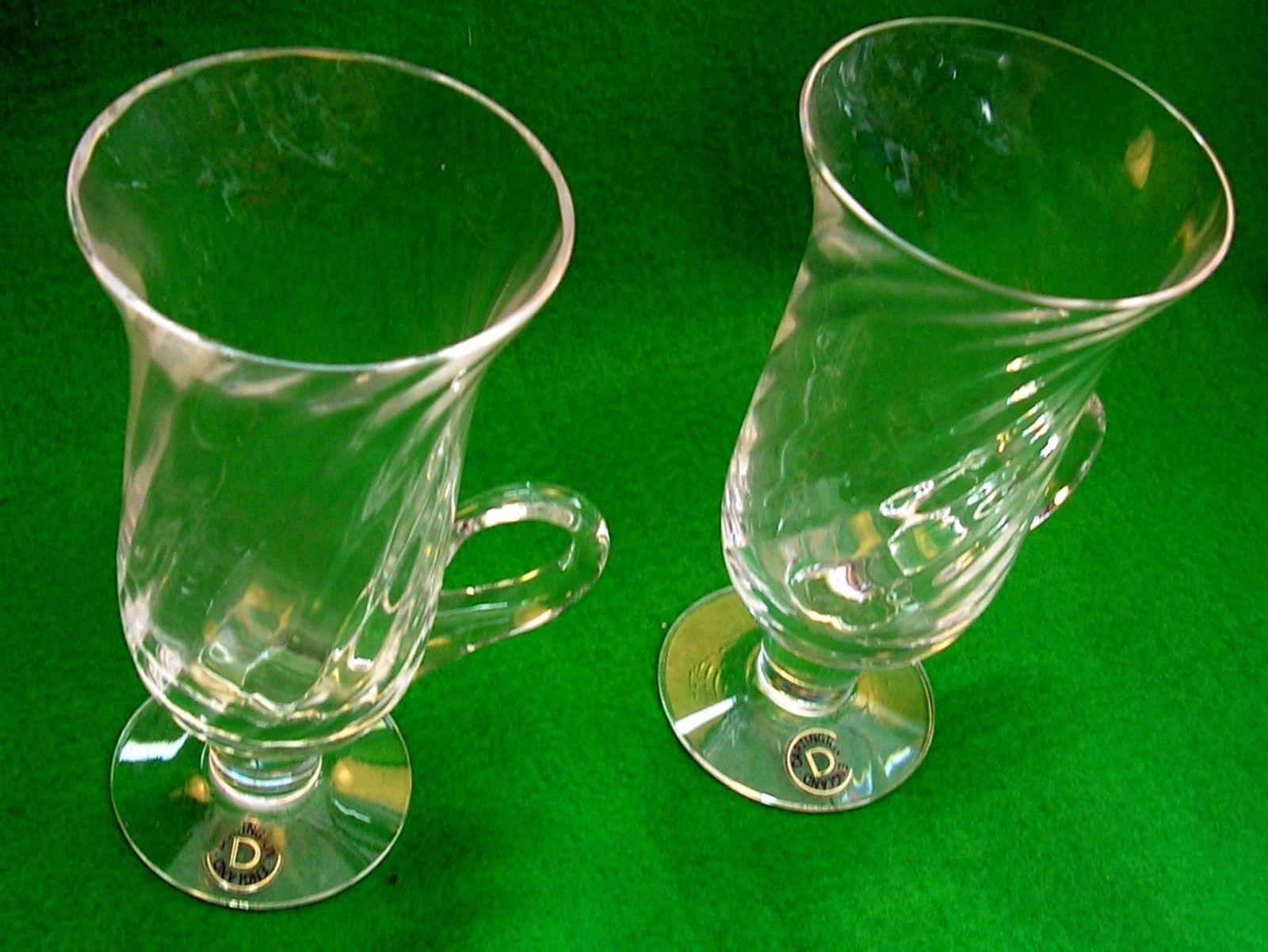 TWO RETRO VINTAGE DARTINGTON RIPPLE IRISH COFFEE GLASSES