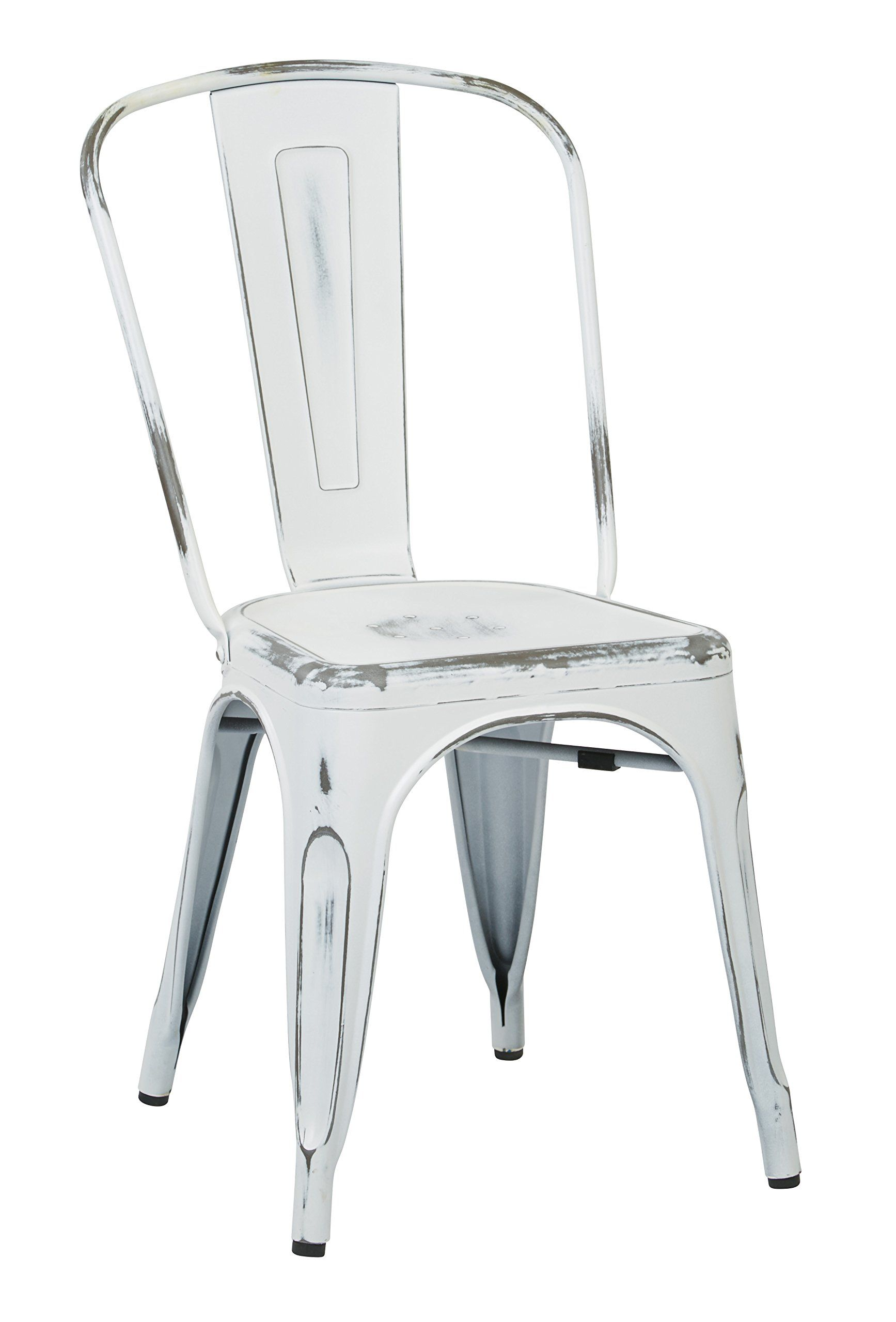 vintage metal dining chair distressed white amazon com osp