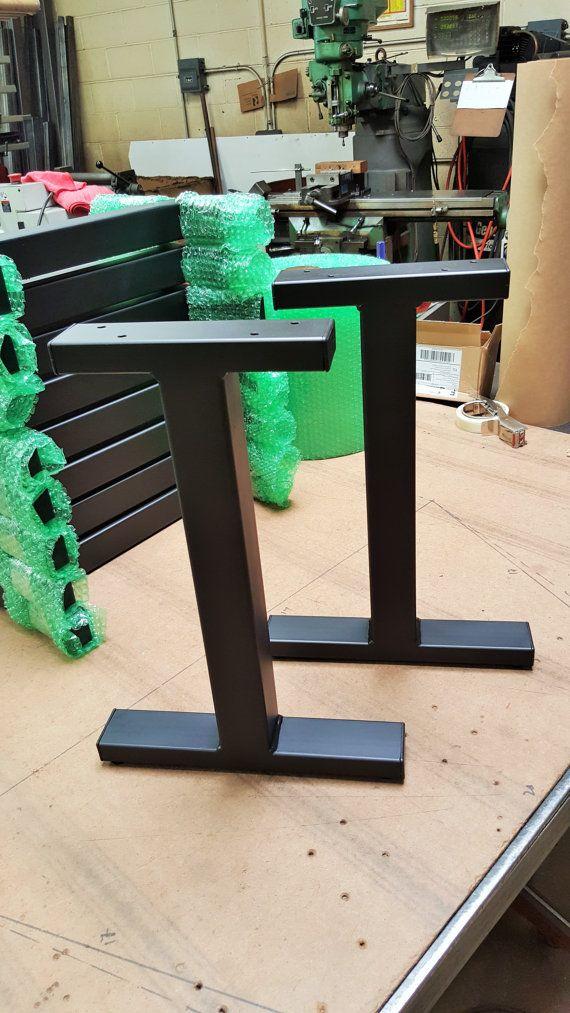 """Black Flat Industrial """"T"""" Legs. Coffee Table Metal Legs ..."""