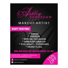Hair And Makeup Artist Monogram Promotional Flyer Business Cardsflyers