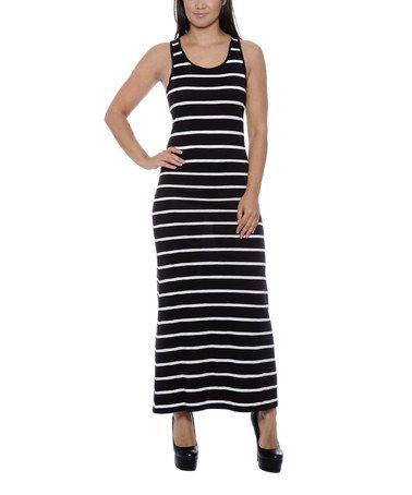 Black & White Stripe Racerback Maxi Dress - Women