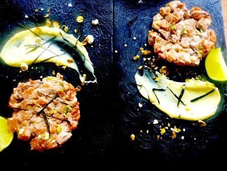 Dinners ready! Tuna burgers and wasabi mayo.
