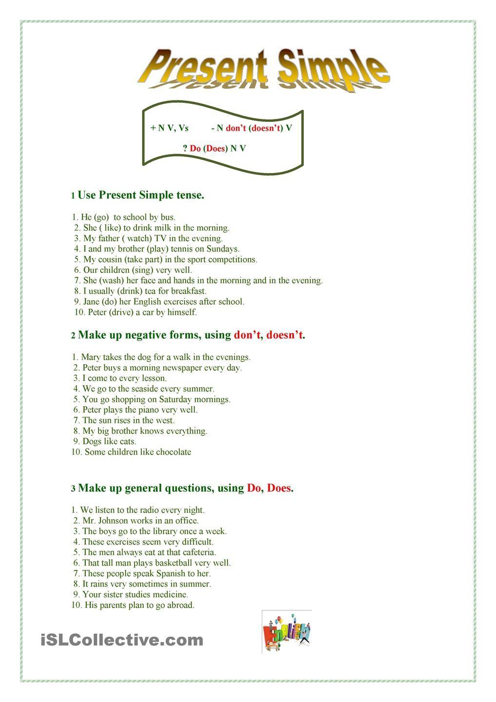 Present Simple | Для уроков | Pinterest | English, Worksheets and ...