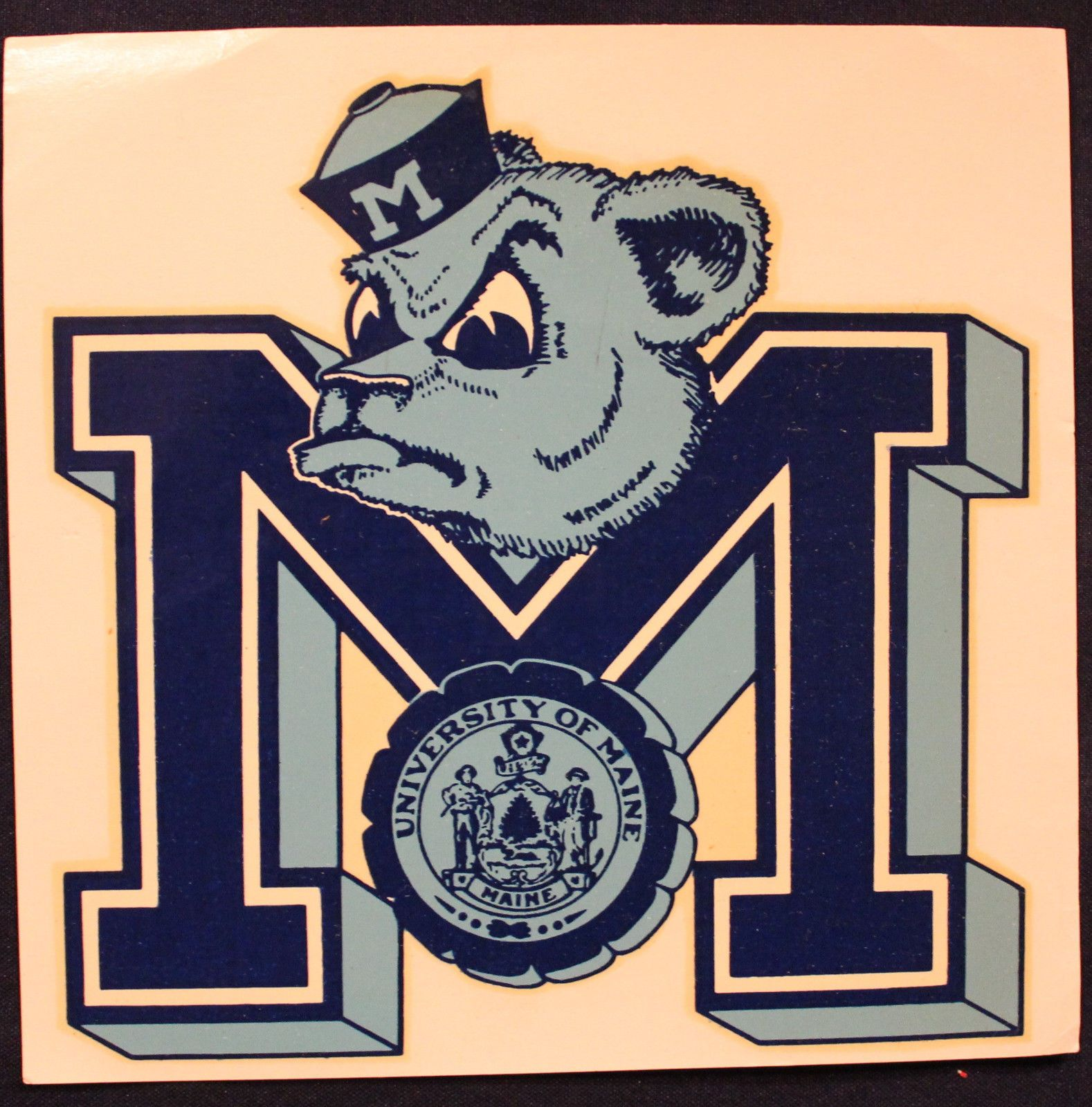 Original vintage university of maine black bear decal sticker