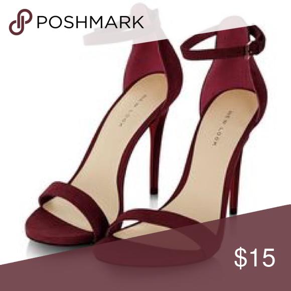 Burgundy open toe suede heels | Heels