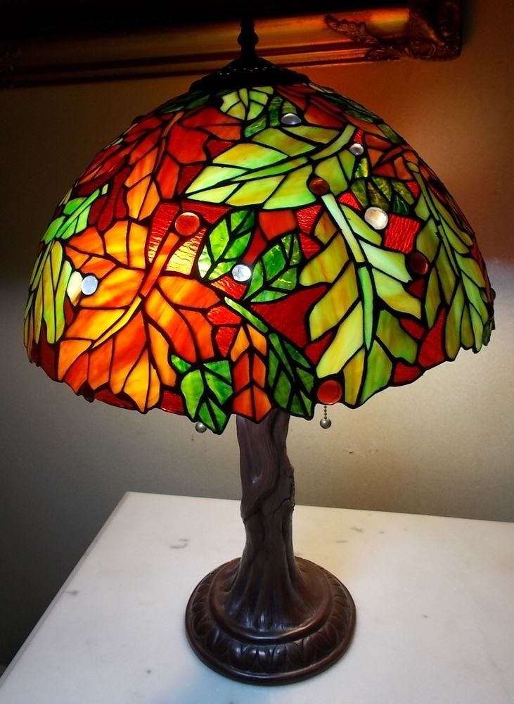 TIFFANY STYLE STAINED GLASS TREE LAMP FALL LEAF SHADE TREE ...