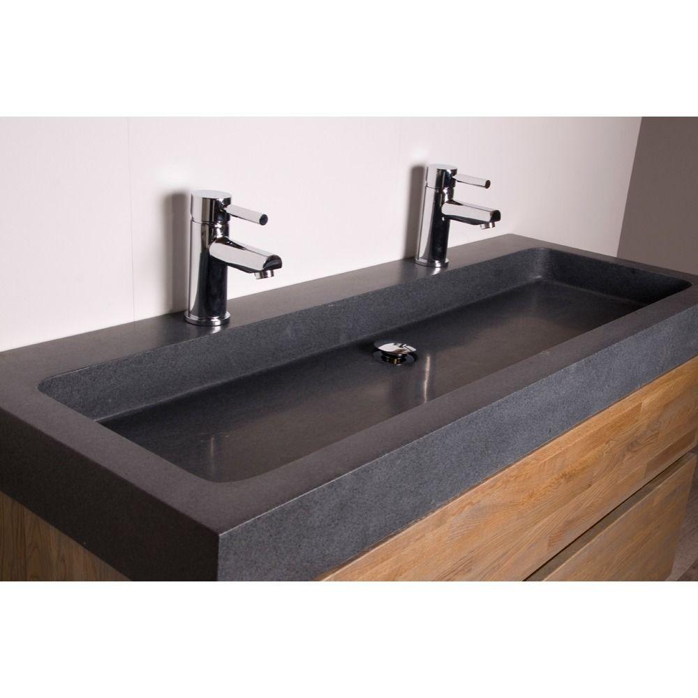 Saniclass natural wood badmeubelset 120cm grey wash met wastafel natuursteen grey stone 2 - Badkamer met houten meubels ...