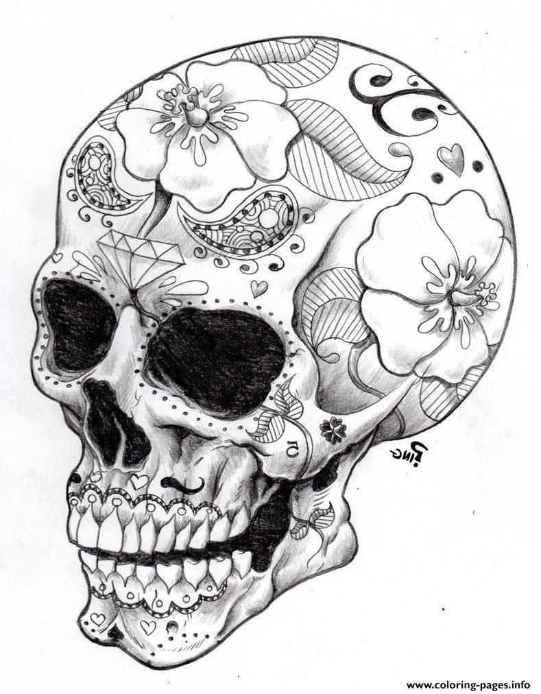 Colouring sheets hard - Print Real Sugar Skull Precision Hd Hard Coloring Pages
