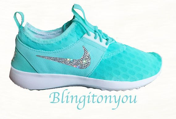 Limited Edition Women's Nike Juvenate Shoes Custom Painted (Tiffany Blue)  and Blinged with Swarovski Crystal Rhinestones