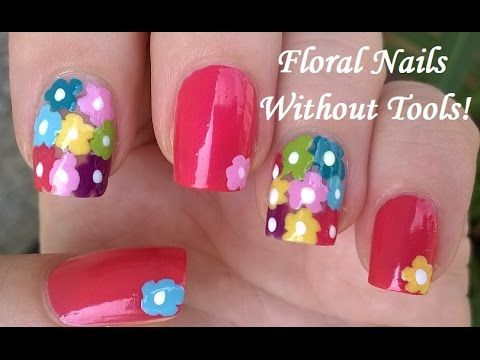 No Tools Needed Floral Nail Art Colorful Summer Nails For