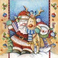 Framed Santa Deer Snowman Snuggle