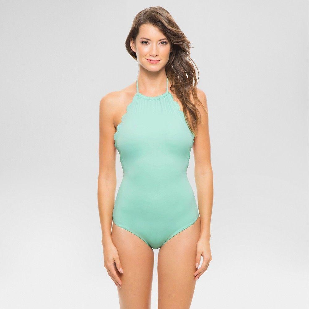 b94a4a424c Women's Scalloped High Neck One Piece Swimsuit Mint Julep XL - Vanilla Beach
