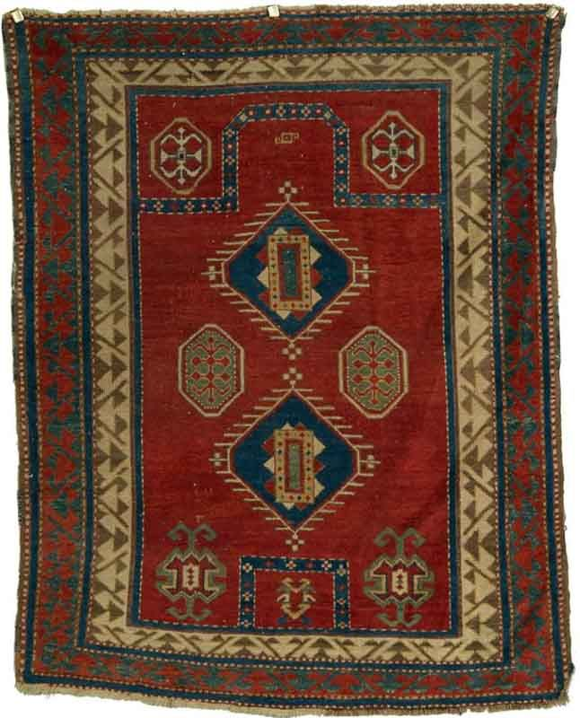FACHROLO KAZAK PRAYER RUG, Caucasus, ca. 1900; 5 ft. 4 in. x 4 ft. 2 in. Grogan | JOZAN
