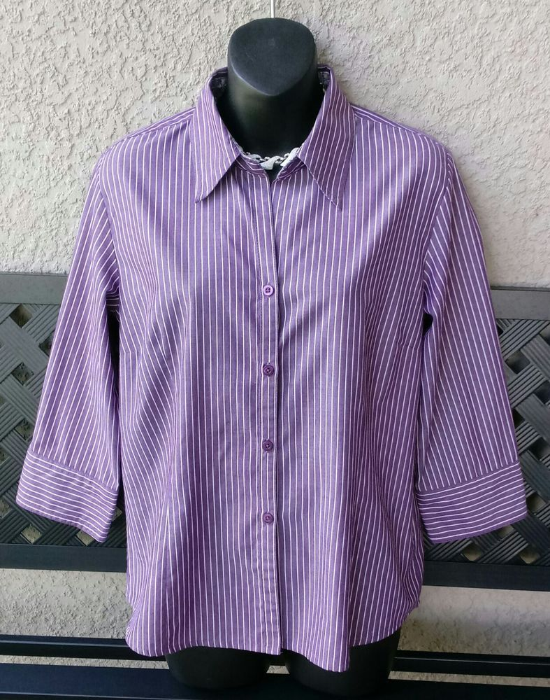 Dress Barn Womens Purple Striped Button Front Shirt Size M