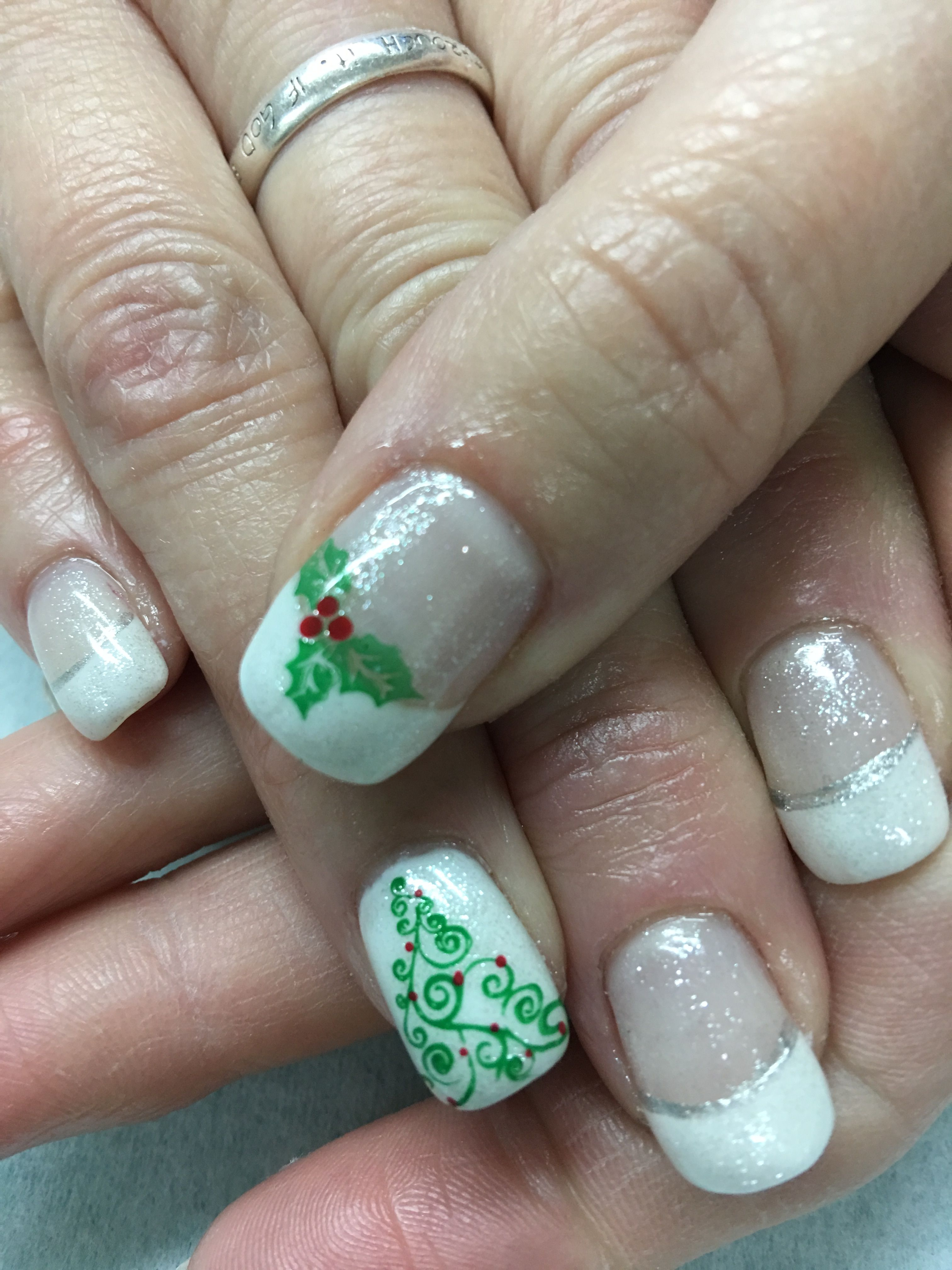 Simple White French Christmas Tree And Holly Sparkle Gel Nails French Nail Designs Christmas Nails Gold Nails Wedding