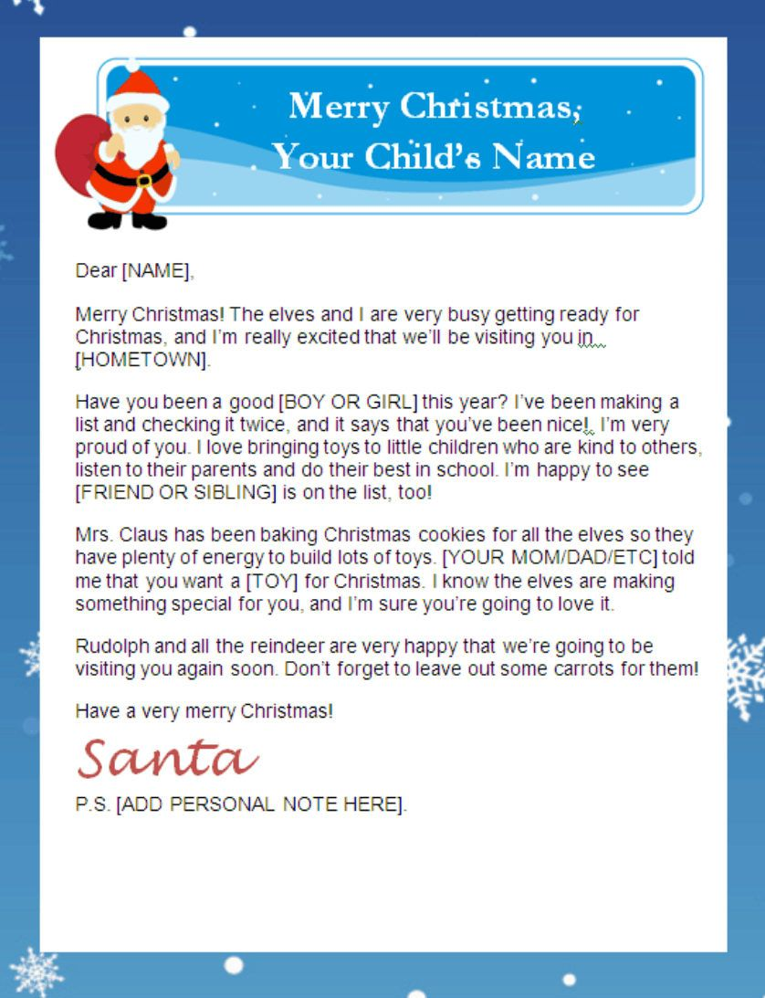 Letter From Santa Templates Free Printable Santa Letters