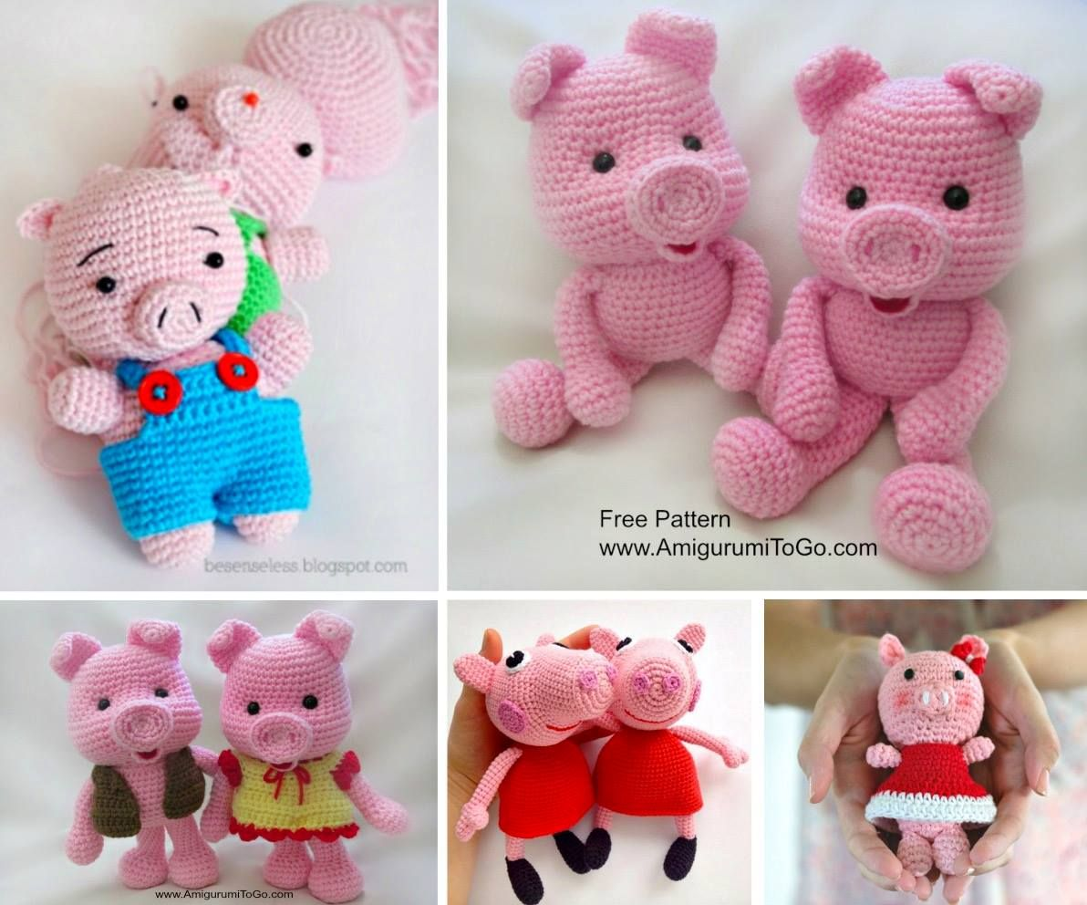 Crochet Pig Pattern Video Tutorial Lots Of Cute Ideas | Amigurumi ...