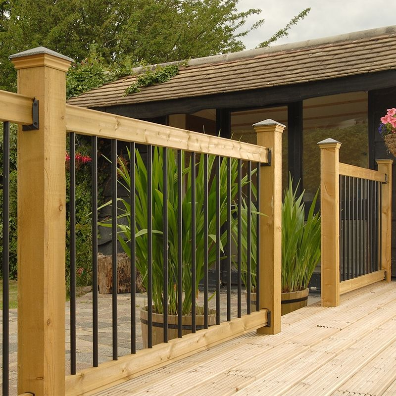 Traditional horizontal deck railing kit with black spindles | Deck ...