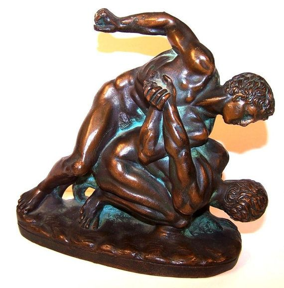 Nude male wrestlers vintage bronze sculpture
