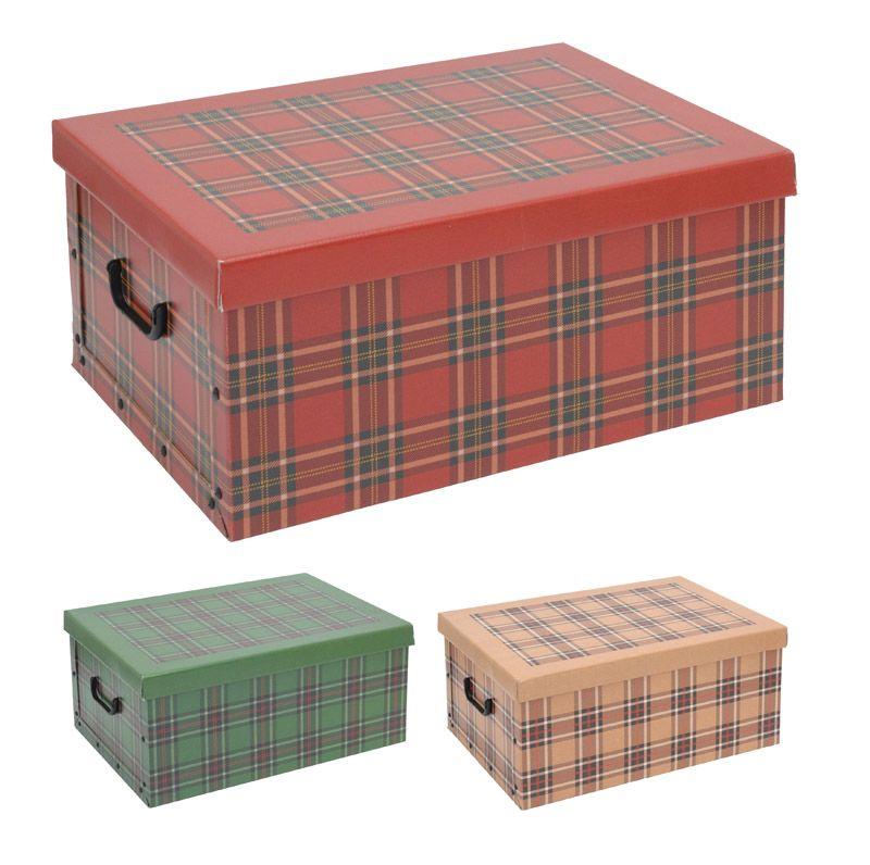 2er Aufbewahrungs Box mit Deckel Karomuster Kiste Karton Schachtel Pappe