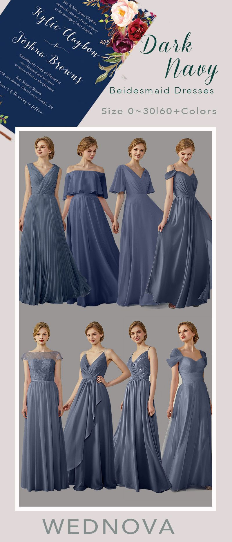 Dark navy bridesmaid dresses cold the shoulder dress long with tulle