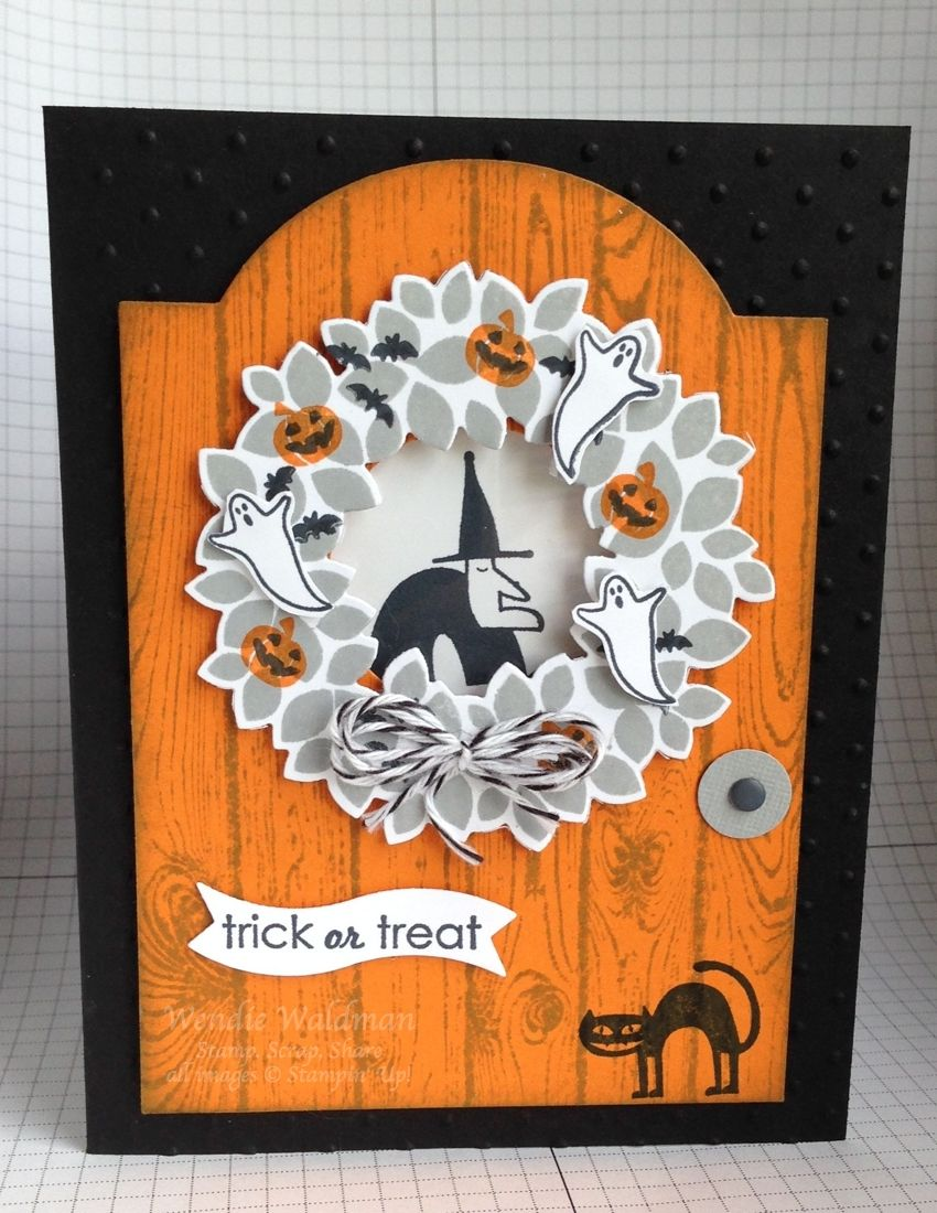 For the life of me I cannot locate the card that was the inspiration for my card. If this looks familiar to you, let me know - I'd love to give you credit! Hard to see, but I used the Perfect Polka Dots TIEF on the black background. Stamp sets used: Wondrous Wreath, Holiday Home, Freaky Friends, Ghoulish Greetings. The inside of the wreath is a window (covered the die-cut center with a piece of window sheet). UPDATE: Sandra Hanedanian's card was the inspiration for my piece.