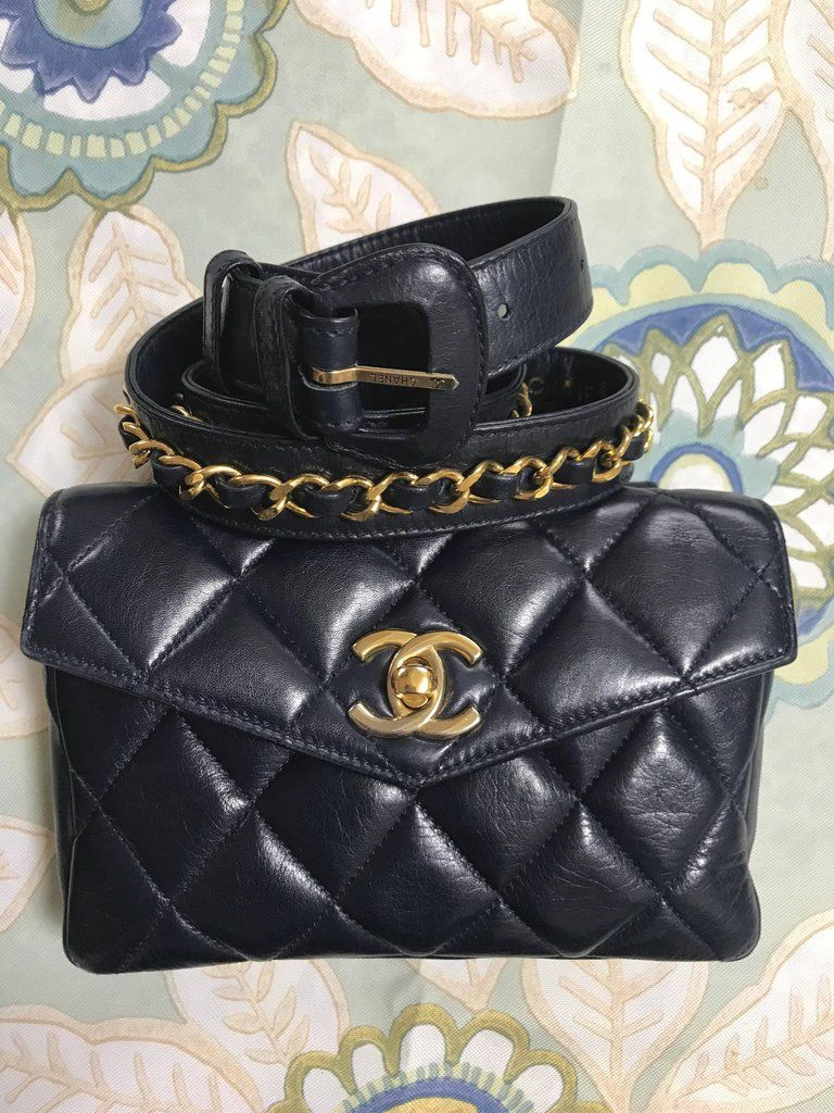 28f4a61522f8 Chanel Vintage navy leather waist purse fanny pack with golden CC and  chains 2