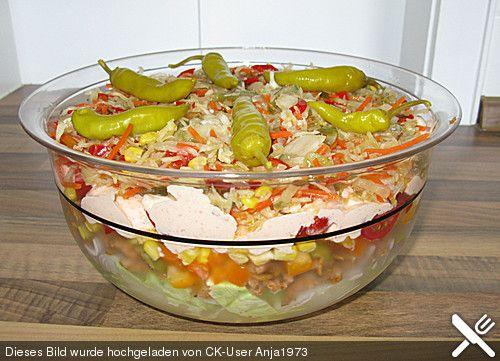 daphnes schlanker gyros schichtsalat low carb salad and food. Black Bedroom Furniture Sets. Home Design Ideas