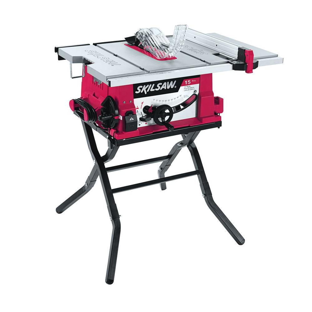 Skil 15 Amp Corded Electric 10 In Table Saw With Folding Stand