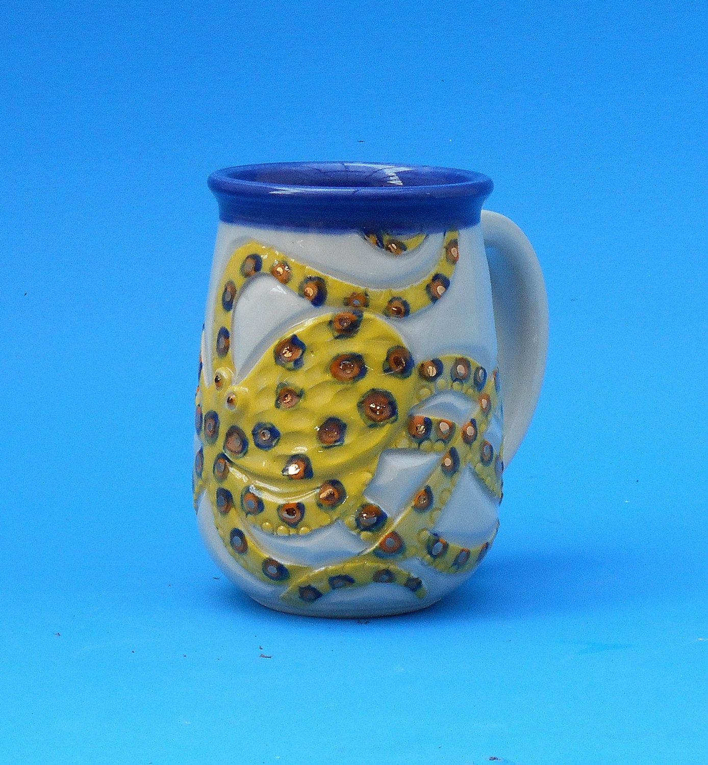 Octopus Blue Ring, Gold Bling, Hand Made Mug, Valentine's Day by CindySearles on Etsy