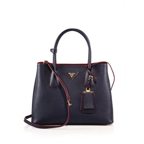 Prada Saffiano Cuir Small Double Bag ($2,600) ❤ liked on Polyvore featuring bags, handbags, apparel & accessories, blue purse, prada, blue bag, prada handbags and prada bags