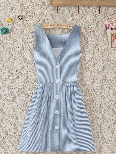 Sleeveless Pleats Placed Sleeveless Buttons Women Stripe Dress