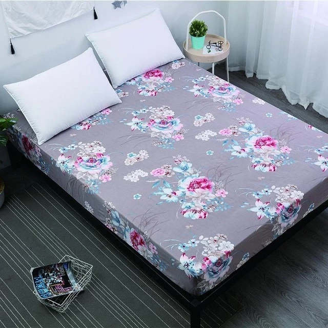 1pc 100Polyester Bed Fitted Sheet Mattress Cover Printing