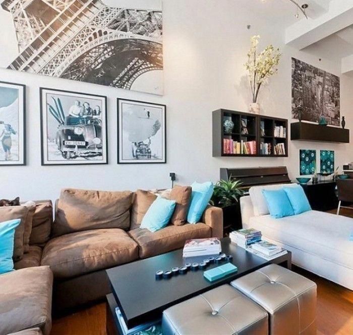 salon-combiner-couleurs-brun-chocolat-bleu-turquoise-blanc ...