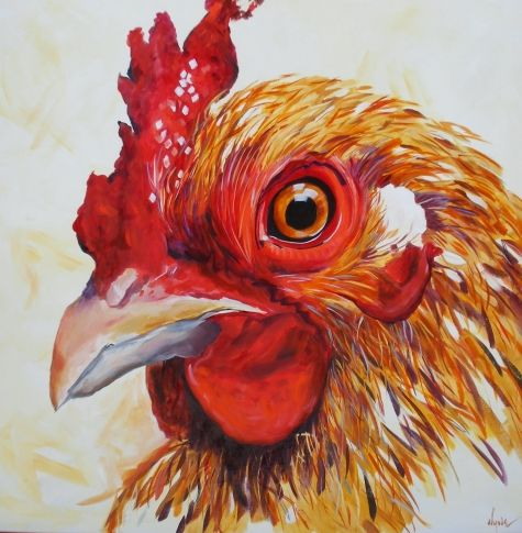 Coop The Chicken Sold Original Art Painting By Kay Wyne