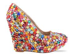"""Multicolored plastic gems are hand applied for ultimate sparkle, 5"""" heel, and 1 1/2"""" platform.  Sells for $ 290!"""