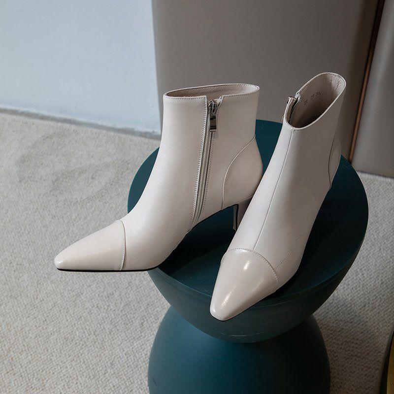 Chiko Iolana Pointed Toe Kitten Heels Boots feature pointed toe, approx. 7 cm kitten heels, rubber sole.