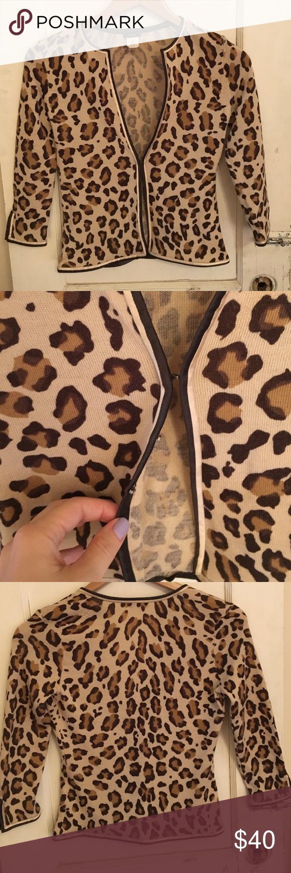 "Leopard cardi Jcrew cardi I am reposhing because it's too small sadly but I love it such a great leopard print, L 20"" B 15"" 100% wool NO TRADES J. Crew Sweaters Cardigans"