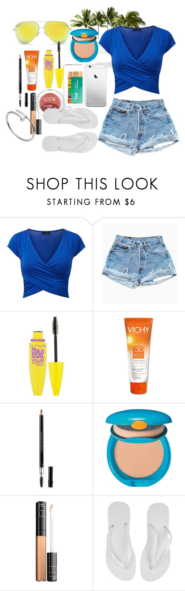 """Bar on the beach with friends ☀️"" by nathfreire ❤ liked on Polyvore featuring Maybelline, Christian Dior, Shiseido, Havaianas and Cartier"