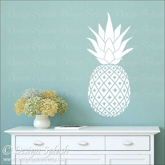 Pineapple Wall Decal Hawaiian Fruit Kitchen Wall Decor Pineapple