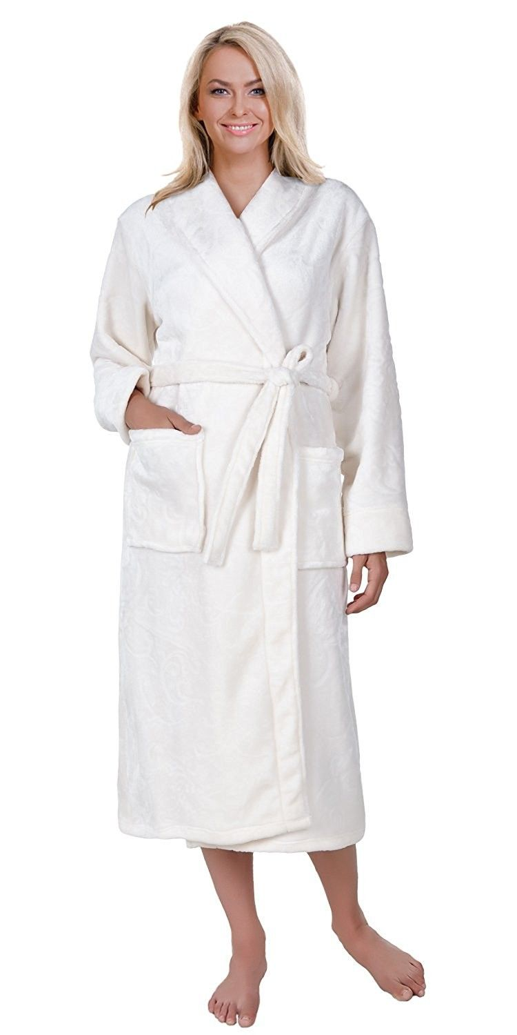 1980953a47 Mad Dog Concepts Women s Bath Robe - Warm Embossed Fleece Shawl Collar    Wrap Front - CN184GZITLG