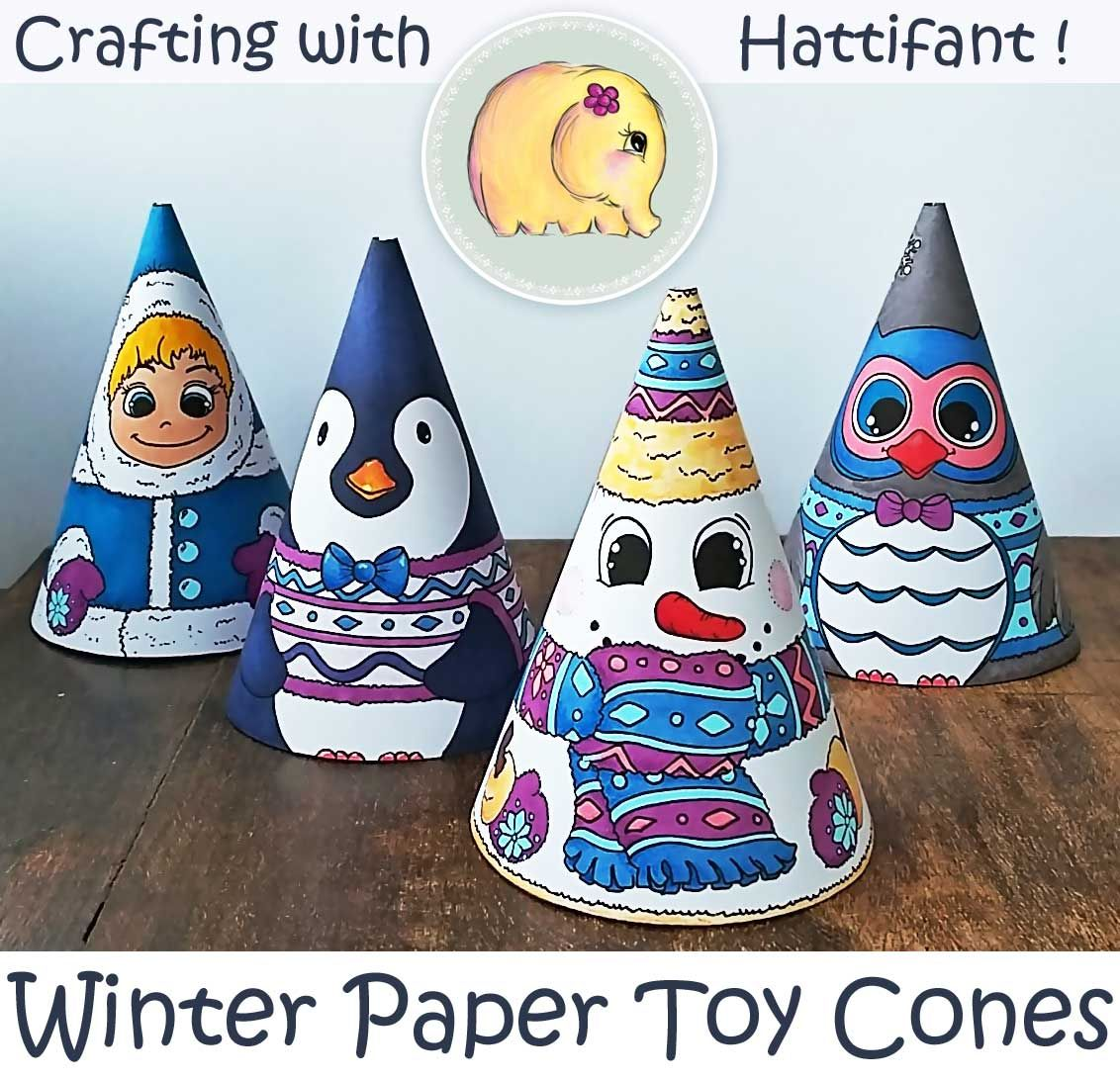 Winter Paper Toy Cones Snowman Owl And More Hattifant Winter Paper Paper Toys Papercraft Printable