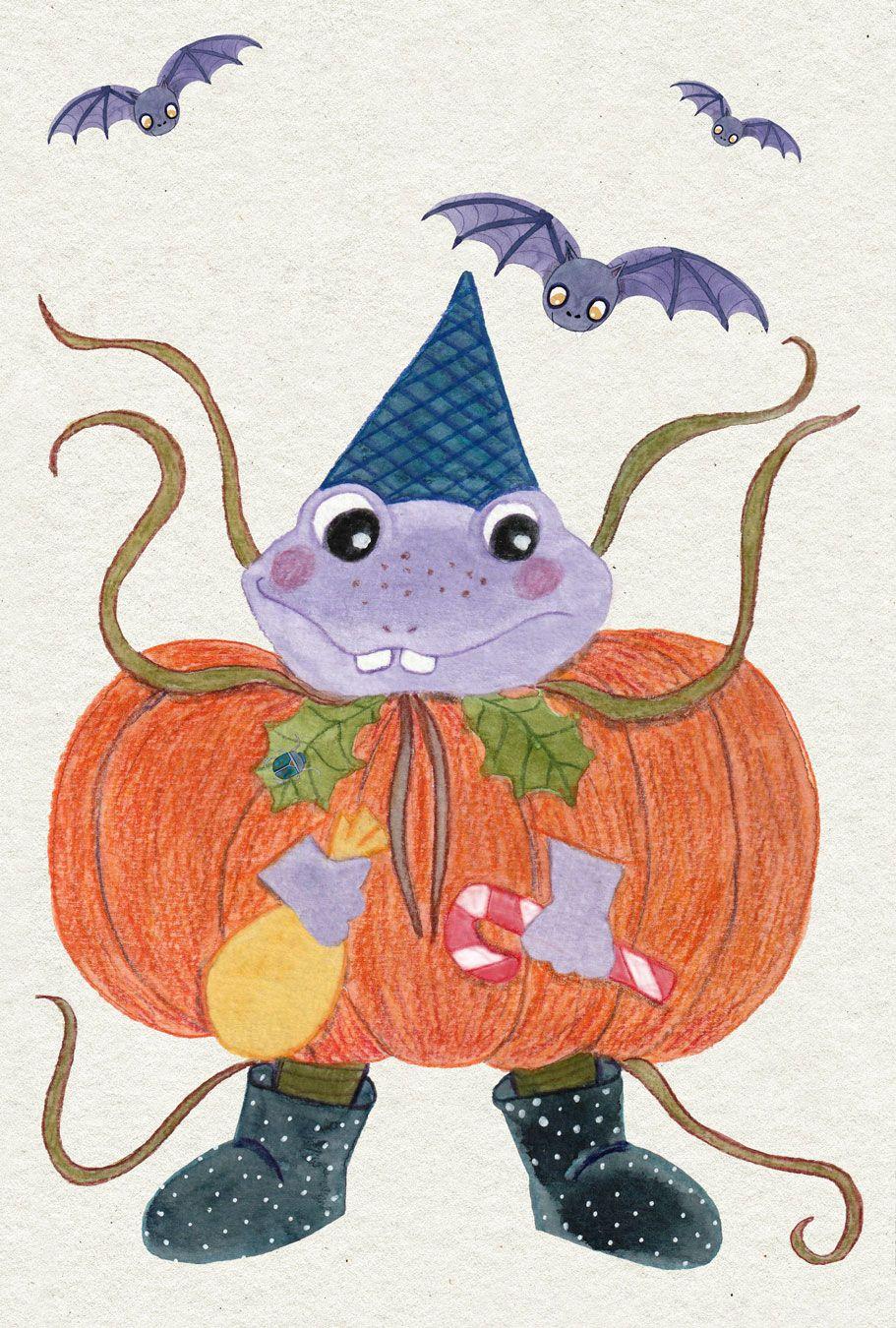 INKTOBER 2020 – #moontoberweekends#moonchildillustrations – 10/10 – FROG Et oui, encore Lucien ! C'est une grenouille donc le voici déguisé en citrouille ! Il est prêt aussi pour Halloween 😉 Est-ce que vous commencez à préparer Halloween avec vos enfants ? #inktober2020#inktober#moontoberweekends#artchallenge#illustration#illustrationjeunesse#magic#fantaisy#automne#cuteanimal#frog#grenouille#Halloween#childrenillustration#kids#enfants#famille#aquarelle#watercolor#crayondecouleurs#colorpencils