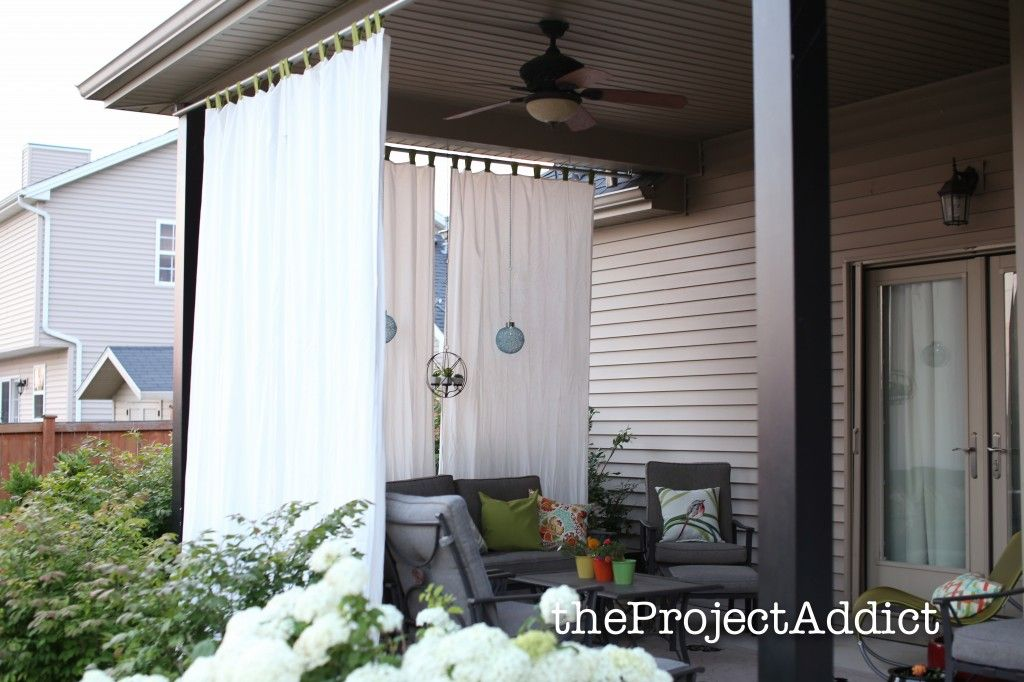 Shorten The Curtains And Hang On Neighbor S Side Of Pergola Outdoor Privacy