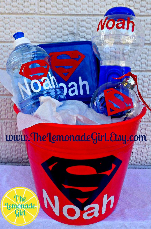 PERSONALIZED BOY Basket Birthday Bucket Gift by TheLemonadeGirl, $40.00